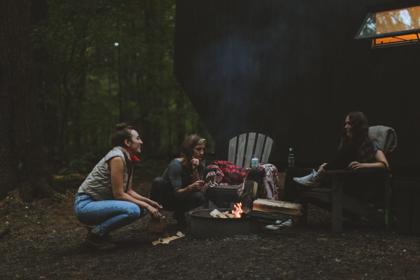 Women around campfire